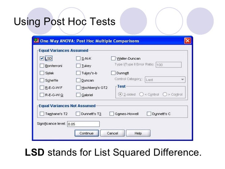 an introduction to the analysis of lsd With genstat) and must understand the use of anova, blocking, and factorial designs 1 introduction genstat does analysis of variance (anova) very well, and can be used to analyse complicated experimental the 5% lsd (least significant difference) values are given and can be used to compare means among.