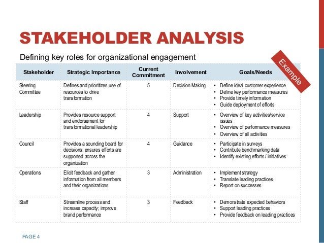 ... Achieving Project Goals; 4. PAGE 4 STAKEHOLDER ANALYSIS ...
