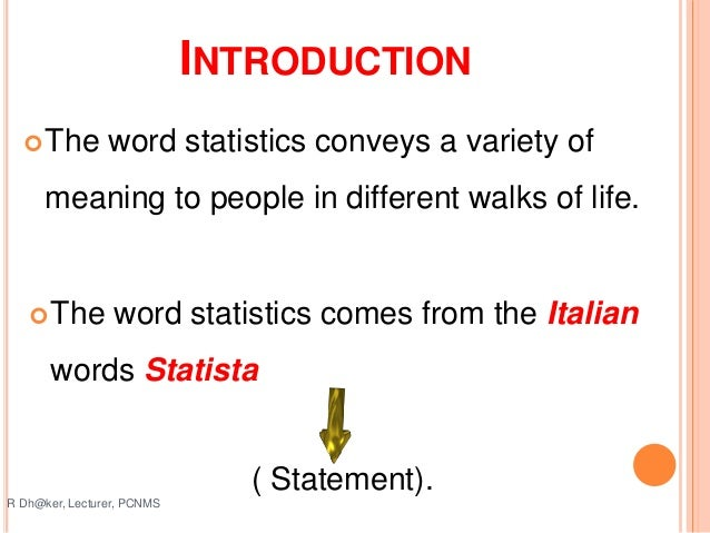 Introduction To Statisticsppt Rahul
