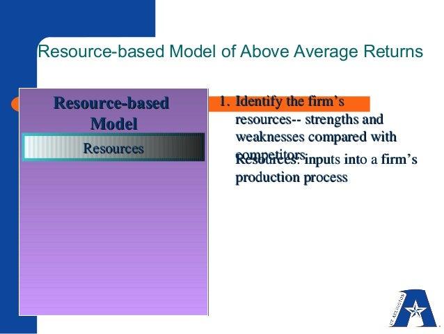 resource based model of above average returns