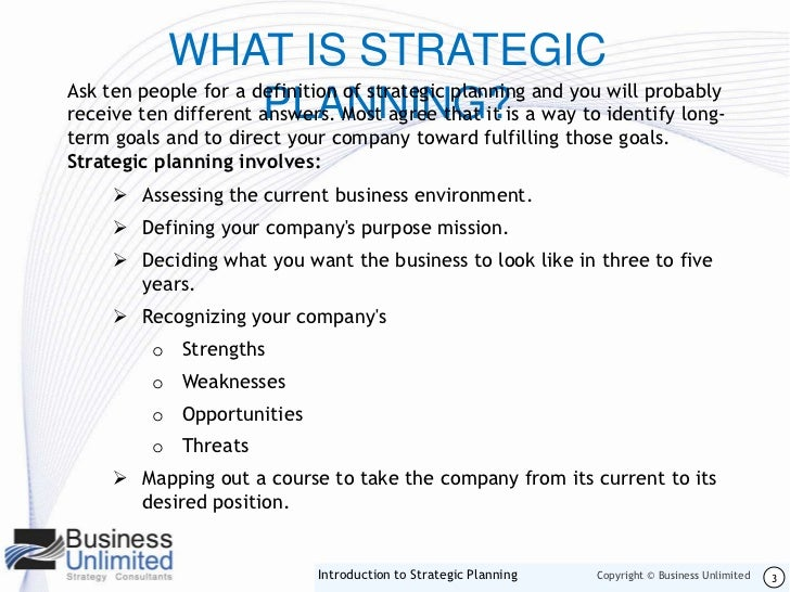 strategic planning definition and examples