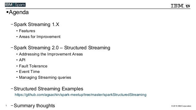 © 2015 IBM Corporation1 ! Agenda - Spark Streaming 1.X •  Features •  Areas for Improvement - Spark Streaming 2.0 – Struct...