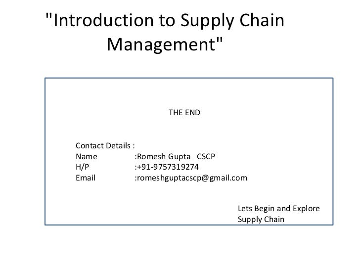 Introduction to Supply Chain Management (SCM)