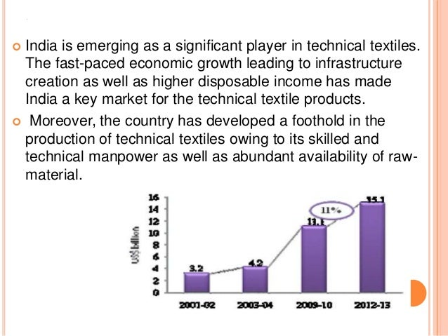 A  India is emerging as a significant player in technical textiles. The fast-paced economic growth leading to infrastruct...