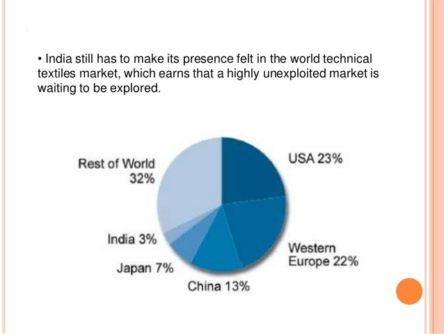 A • India still has to make its presence felt in the world technical textiles market, which earns that a highly unexploite...