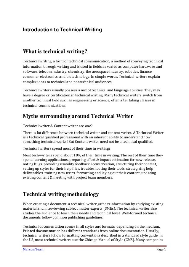 Technical Writing, Technical-Writing Courses, and the Author