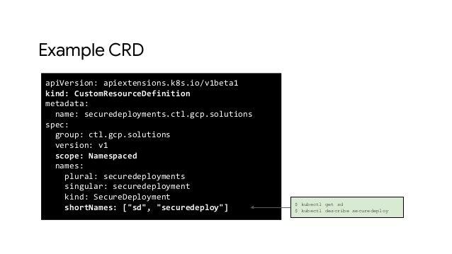 Example CRD apiVersion: apiextensions.k8s.io/v1beta1 kind: CustomResourceDefinition metadata: name: securedeployments.ctl....