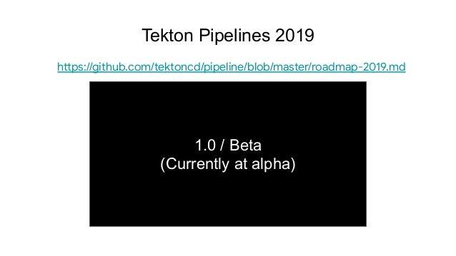 1.0 / Beta (Currently at alpha) Tekton Pipelines 2019 https://github.com/tektoncd/pipeline/blob/master/roadmap-2019.md