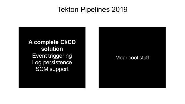Tekton Pipelines 2019 Q2 Q3 + Q4 A complete CI/CD solution Event triggering Log persistence SCM support Moar cool stuff