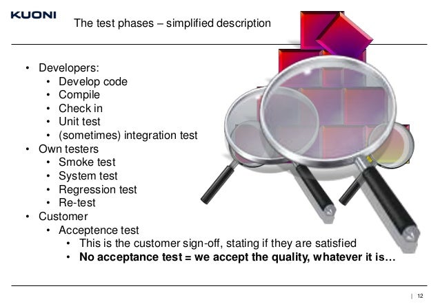 The test phases – simplified description  • Developers: • Develop code • Compile • Check in • Unit test • (sometimes) inte...
