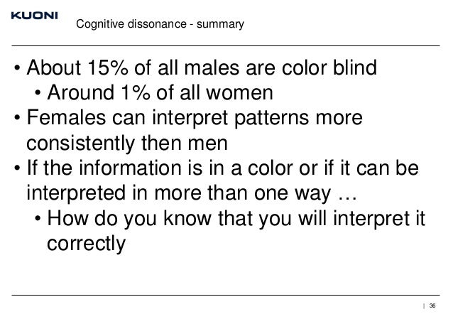 Cognitive dissonance - summary  • About 15% of all males are color blind • Around 1% of all women • Females can interpret ...