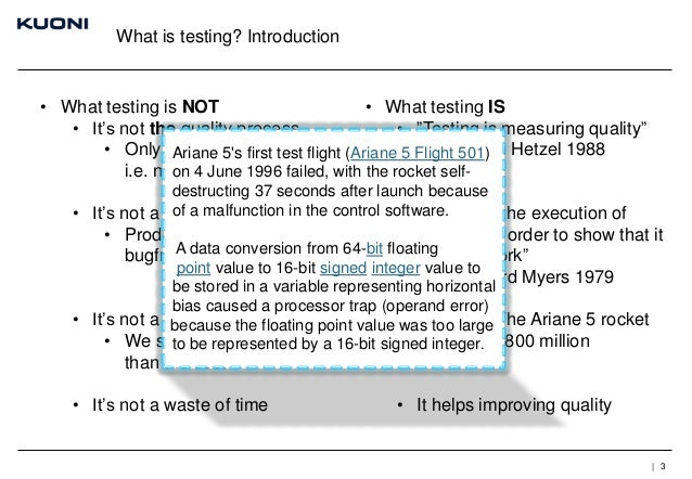 """What is testing? Introduction  • What testing is NOT • What testing IS • It's not the quality process • """"Testing is measur..."""
