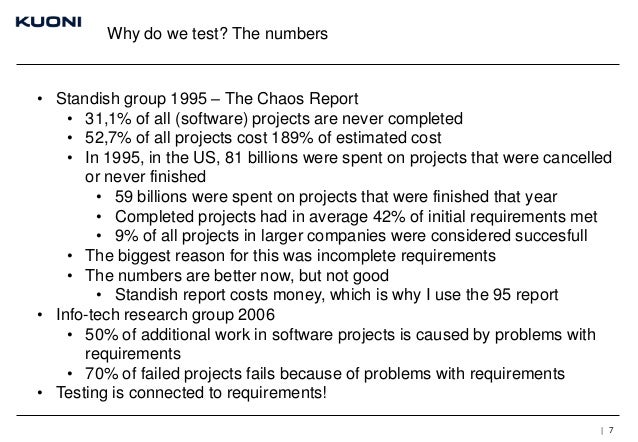 Why do we test? The numbers  • Standish group 1995 – The Chaos Report • 31,1% of all (software) projects are never complet...