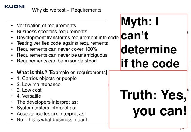 Why do we test – Requirements • • • • • • •  Verification of requirements Business specifies requirements Development tran...