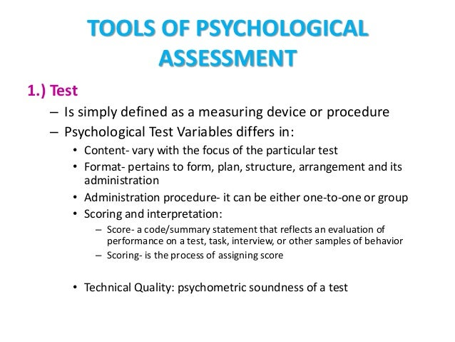 psychological assessment measure introduction Introduction to psychological assessment in the south african  psychological assessment measure is a tool of how psychologists better understand a person and.