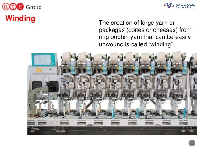 12 Winding The creation of large yarn or packages (cones or cheeses) from ring bobbin yarn that can be easily unwound is c...