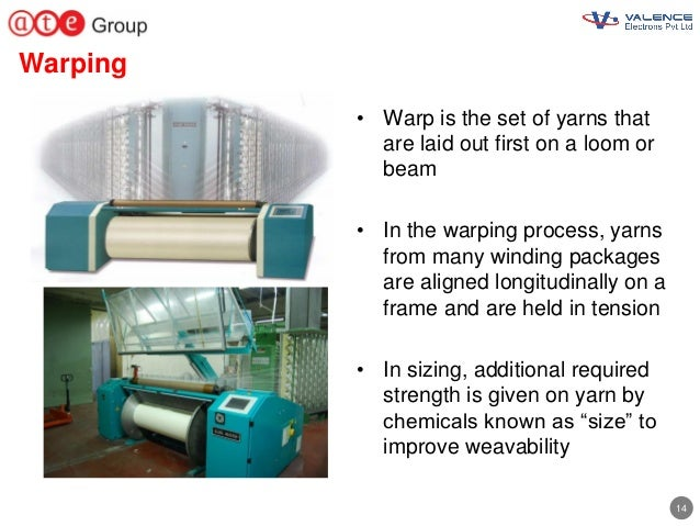 14 Warping • Warp is the set of yarns that are laid out first on a loom or beam • In the warping process, yarns from many ...