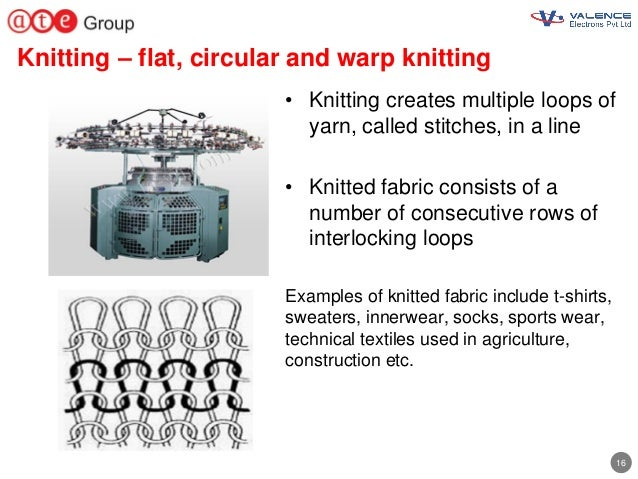 16 Knitting – flat, circular and warp knitting • Knitting creates multiple loops of yarn, called stitches, in a line • Kni...