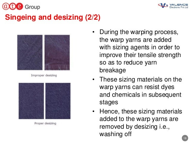 18 Singeing and desizing (2/2) • During the warping process, the warp yarns are added with sizing agents in order to impro...