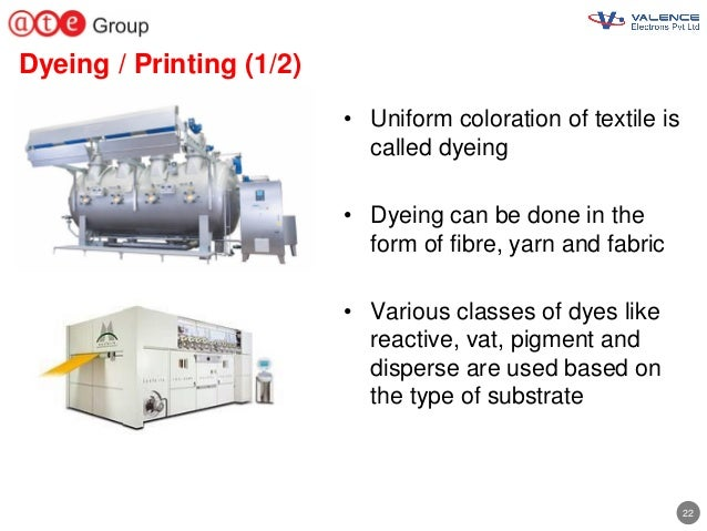22 Dyeing / Printing (1/2) • Uniform coloration of textile is called dyeing • Dyeing can be done in the form of fibre, yar...