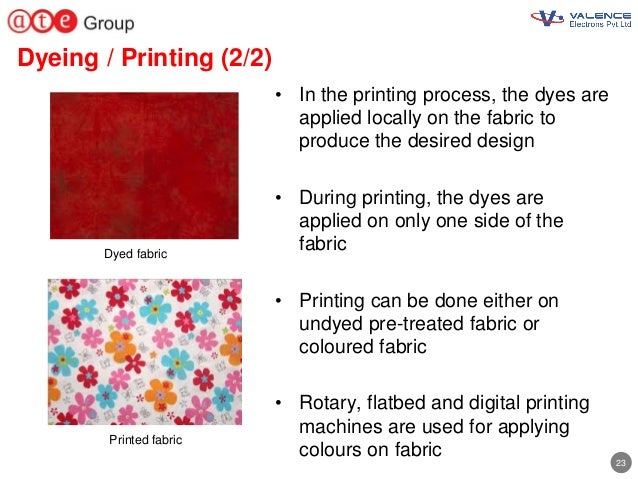 23 Dyeing / Printing (2/2) • In the printing process, the dyes are applied locally on the fabric to produce the desired de...