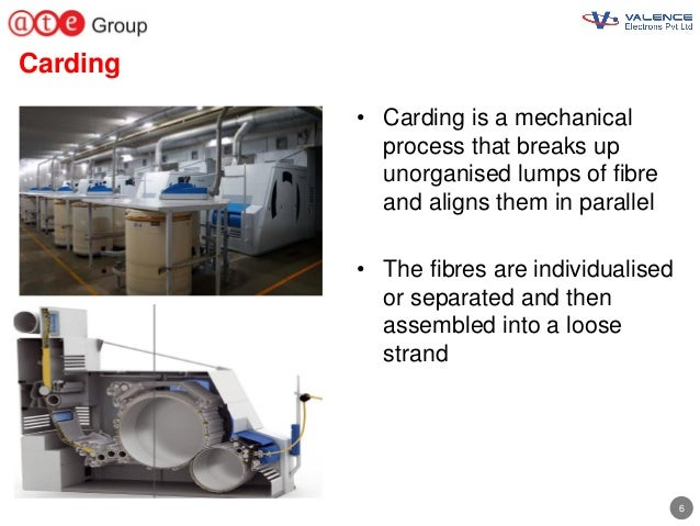6 Carding • Carding is a mechanical process that breaks up unorganised lumps of fibre and aligns them in parallel • The fi...