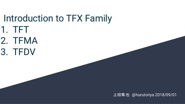Introduction to TFX Family 1. TFT 2. TFMA 3. TFDV  上田隼也 @hurutoriya 2018/09/01