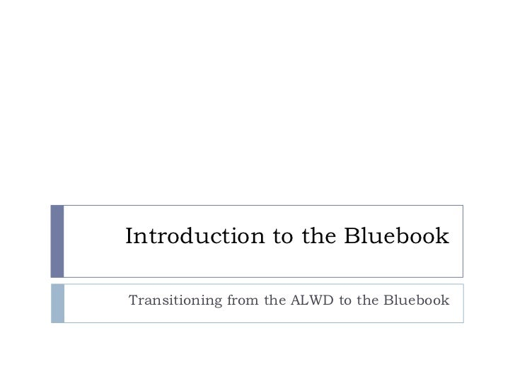 Alwd To Bluebook