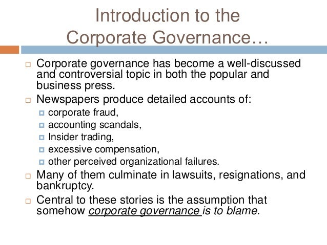 Introduction to corporate governance sep 17 2011.