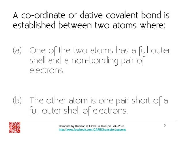Introduction To The Dative Covalent Bond