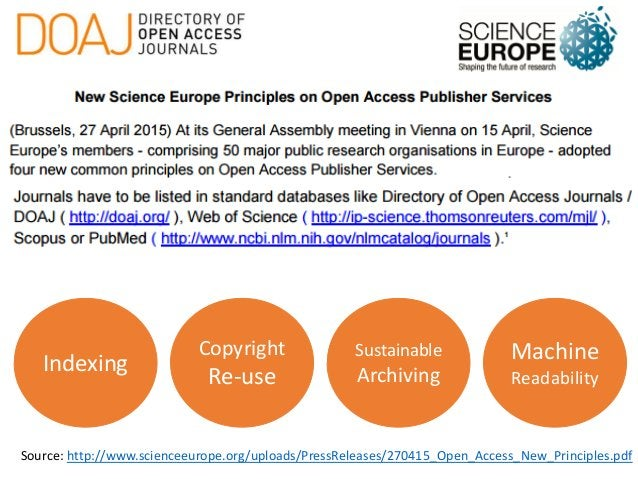 Source: http://www.scienceeurope.org/uploads/PressReleases/270415_Open_Access_New_Principles.pdf Indexing Copyright Re-use...