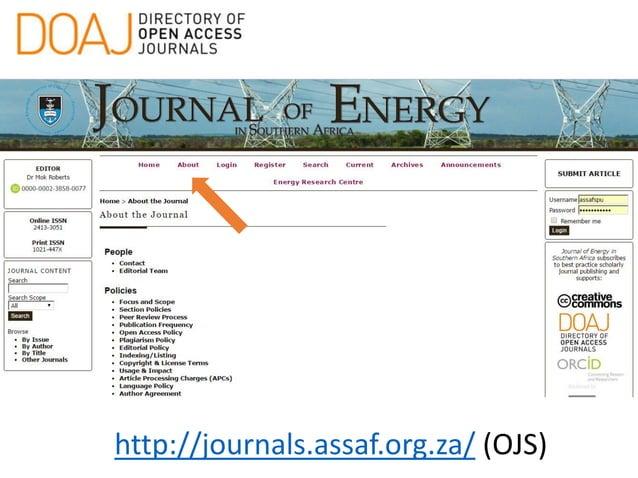 http://journals.assaf.org.za/ (OJS)