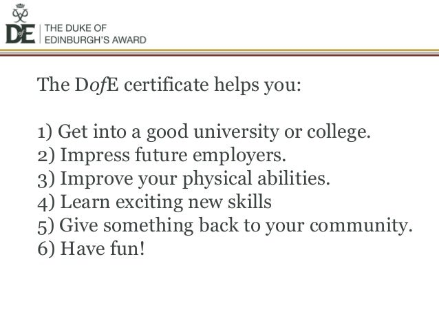 Duke of edinburgh award application letter