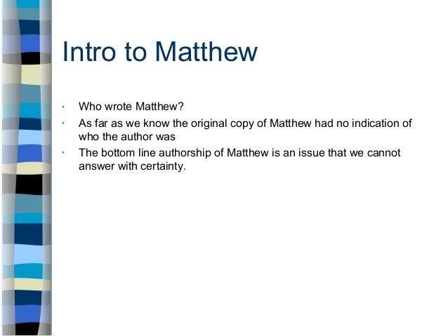 who wrote matthew