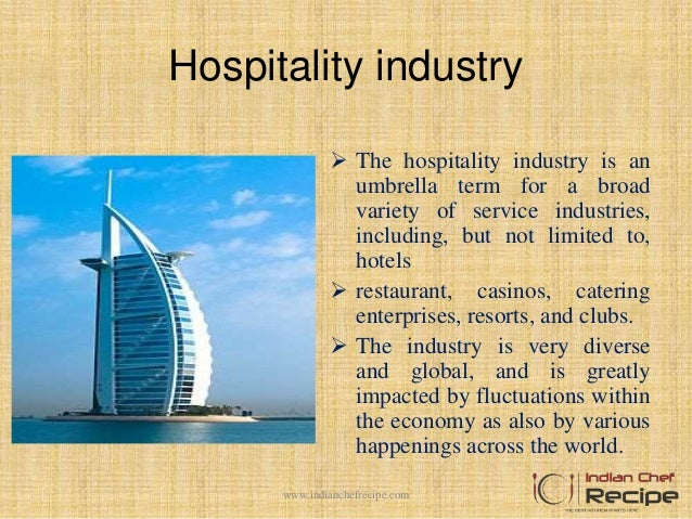 introduction to hospitality industry The hospitality industry [[[wikipedia:hospitality industry|hospitality industry]]] is the industry that is responsible for providing primarily food.
