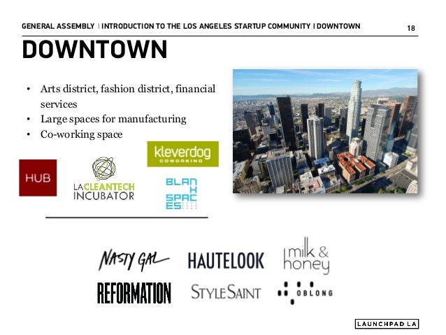 GENERAL ASSEMBLY I INTRODUCTION TO THE LOS ANGELES STARTUP COMMUNITY I DOWNTOWN  DOWNTOWN • Arts district, fashion distric...