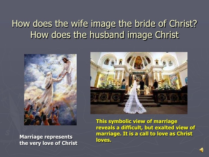 How does the wife image the bride of Christ?   How does the husband image Christ                           This symbolic v...