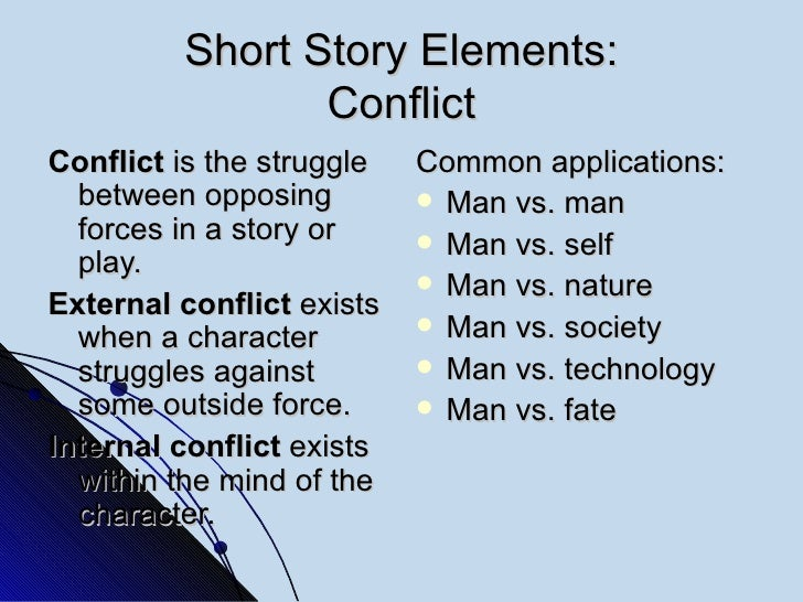 Short Story Elements: Conflict <ul><li>Conflict  is the struggle between opposing forces in a story or play. </li></ul><ul...