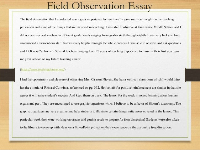 introduction to the teaching profession field observation field observation verification form 11