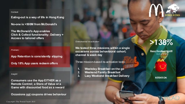HONG KONG Problem: App Retention is consistently slipping Only 18% App users redeem offers Insight: Consumers use the App ...