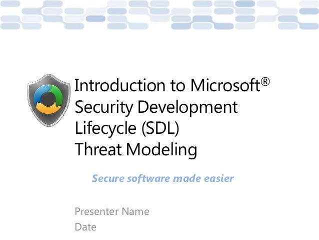 Presenter NameDateIntroduction to Microsoft®Security DevelopmentLifecycle (SDL)Threat ModelingSecure software made easier