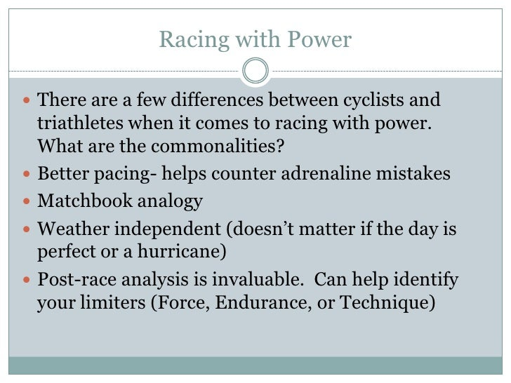 Introduction To Training And Racing With Power