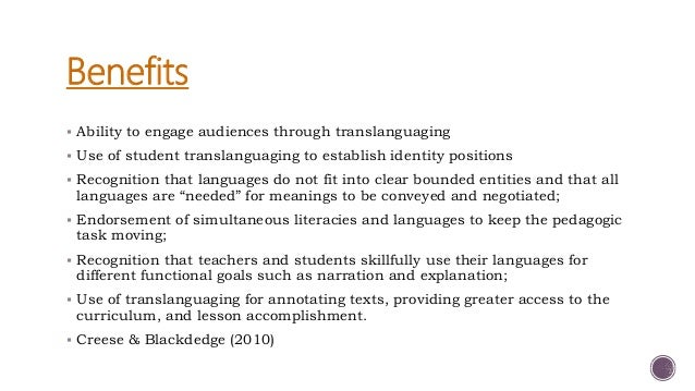  How do you see translanguaging practices playing a role in your classroom?