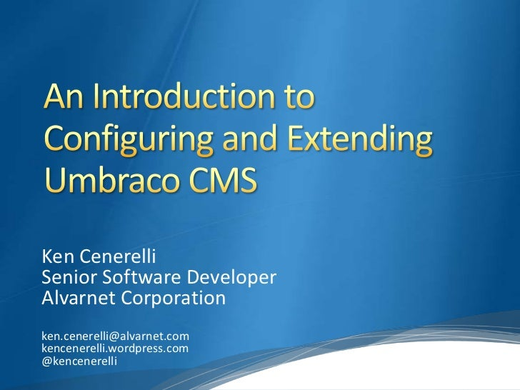 Ken CenerelliSenior Software DeveloperAlvarnet Corporationken.cenerelli@alvarnet.comkencenerelli.wordpress.com@kencenerelli