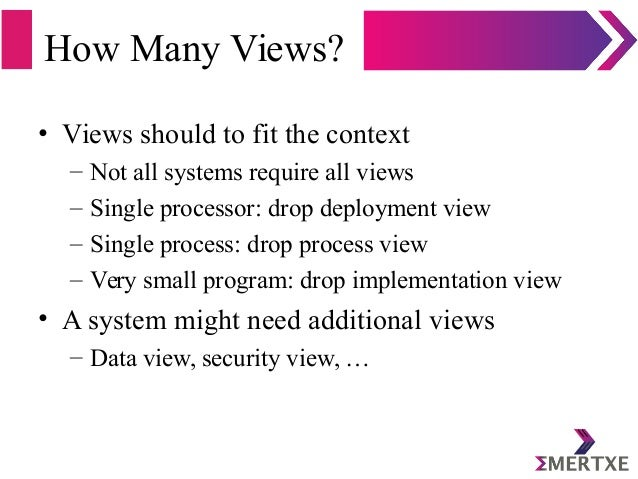 How Many Views? • Views should to fit the context – Not all systems require all views – Single processor: drop deployment ...