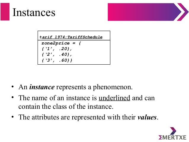Instances • An instance represents a phenomenon. • The name of an instance is underlined and can contain the class of the ...
