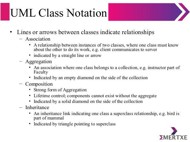 UML Class Notation • Lines or arrows between classes indicate relationships – Association • A relationship between instanc...