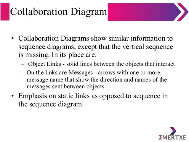 Collaboration Diagram • Collaboration Diagrams show similar information to sequence diagrams, except that the vertical seq...