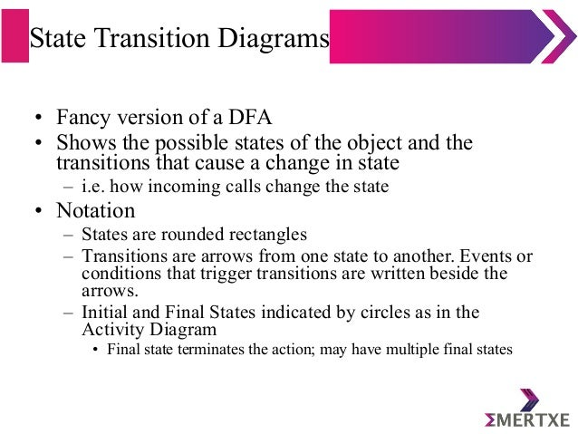 State Transition Diagrams • Fancy version of a DFA • Shows the possible states of the object and the transitions that caus...