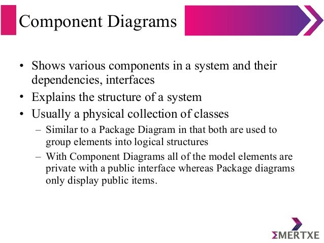 Component Diagrams • Shows various components in a system and their dependencies, interfaces • Explains the structure of a...